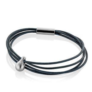 Navy Porc Leather Bracelet