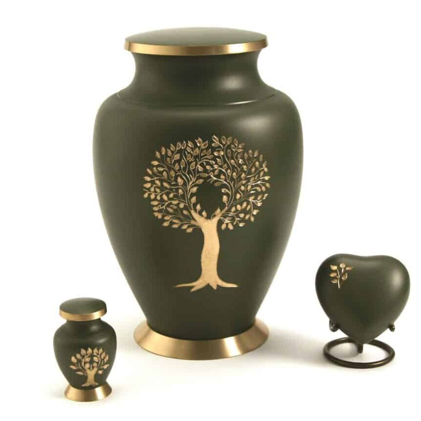 5240 Aria Tree of Life Ensemble Funeral Urns with heart stand